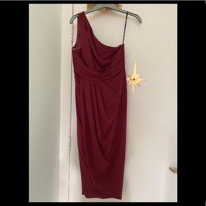 One shoulder tulip hem dress